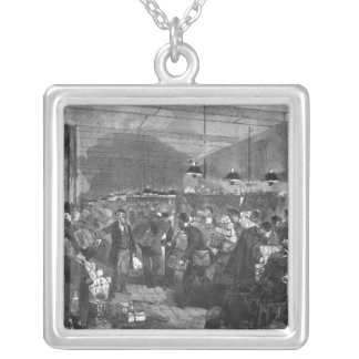 Interior of the Paris post office Silver Plated Necklace