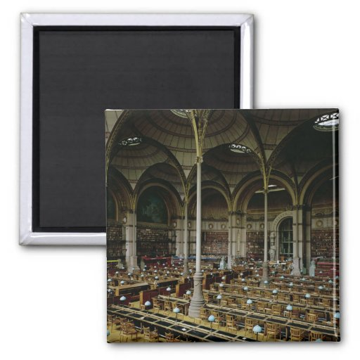 Interior of the 'Salle des Imprimes', 1868 2 Inch Square Magnet