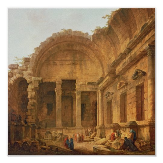 Interior of the Temple of Diana at Nimes, 1787 Poster