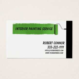 Interior Painting Service Green Stroke Design Card