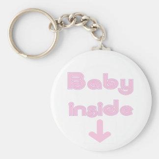 Interior rosado del bebé - modificado para requisi llavero redondo tipo pin