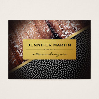 Interior Rustic Gold Metallic Dots Pattern Business Card