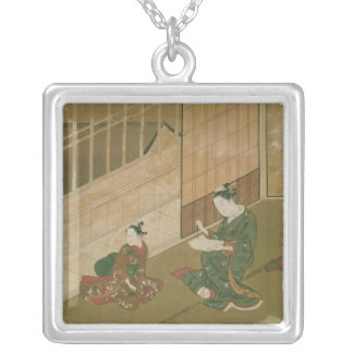 Interior scene, c.1730 silver plated necklace