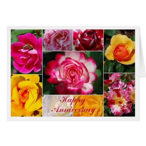 Interior subió aniversario feliz del amarillo del tarjeta de felicitación