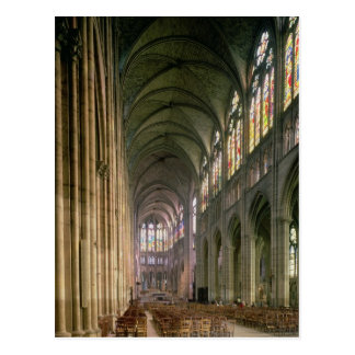 Interior view looking down the nave postcard
