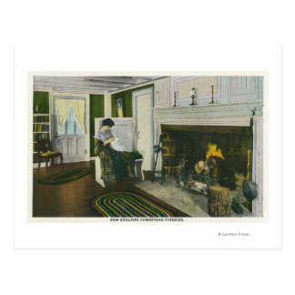 Interior View of a New England Homestead Postcard