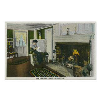 Interior View of a New England Homestead Poster