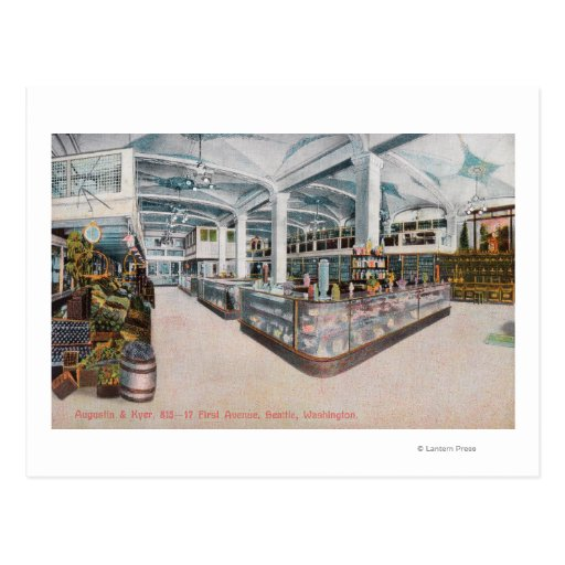 Interior View of Augustine & Kyer Bakery Postcard