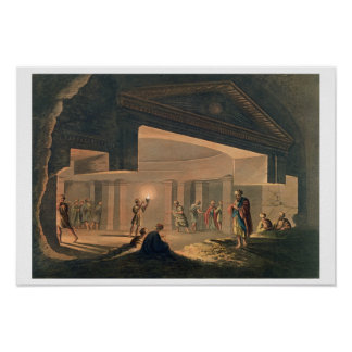 Interior View of the Catacombs at Alexandria, plat Poster