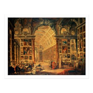 Interior View of The Colonna Gallery, Rome (oil on Postcard