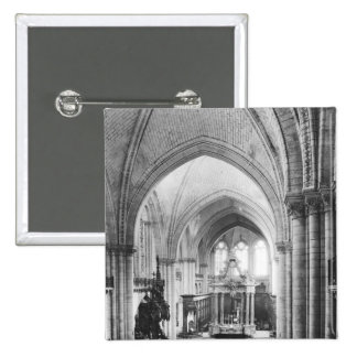 Interior view of the nave and the choir pinback button