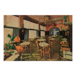 Interior View of the Poppy Room at Maryland Hote Poster