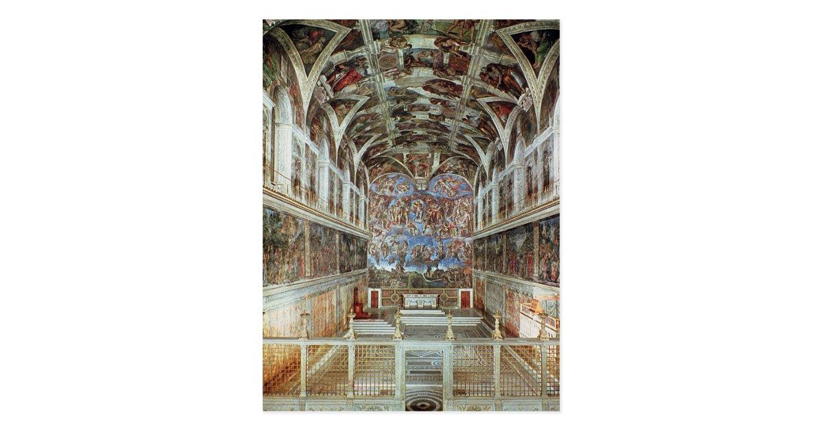 Interior View Of The Sistine Chapel Postcard Zazzle