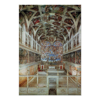 Interior view of the Sistine Chapel Poster