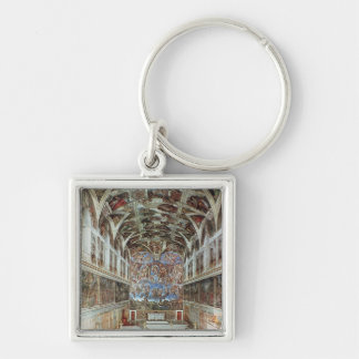Interior view of the Sistine Chapel Silver-Colored Square Keychain