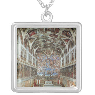 Interior view of the Sistine Chapel Silver Plated Necklace
