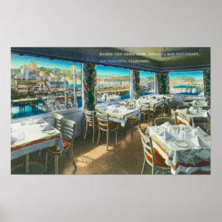 Interior View of the Vista del Mar Restaurant Print
