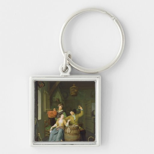 Interior with a couple celebrating keychain