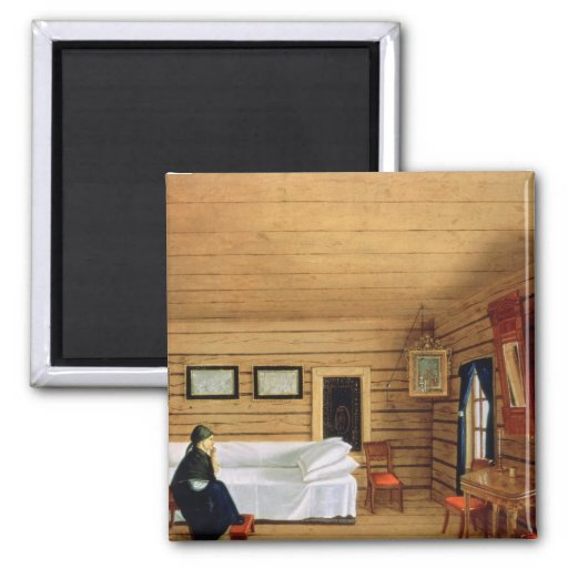 Interior with a seated woman 2 inch square magnet