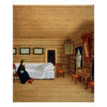Interior with a seated woman poster