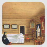 Interior with a seated woman square sticker
