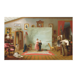 Interior with Portraits by Thomas Le Clear (1865) Canvas Print