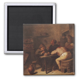 Interior with Smokers 2 Inch Square Magnet