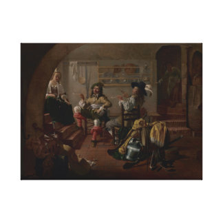 Interior with Soldiers and Women Canvas Print