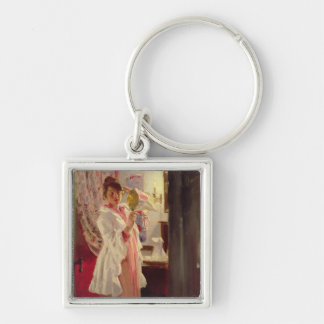 Interior with the Artist's Wife, 1889 Silver-Colored Square Keychain