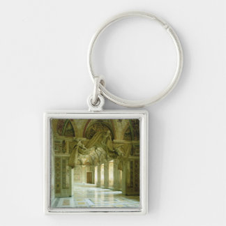 Interior with view of sculpted angels Silver-Colored square keychain