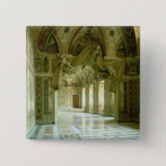 Interior with view of sculpted angels pinback button