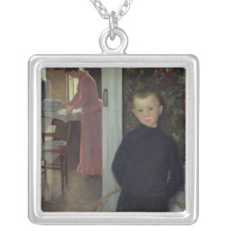 Interior with Women and a Child Silver Plated Necklace