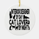 Interiorista del amante del gato ornamento de navidad
