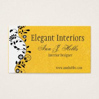 Interiorista floral del remolino del vintage tarjeta de negocios