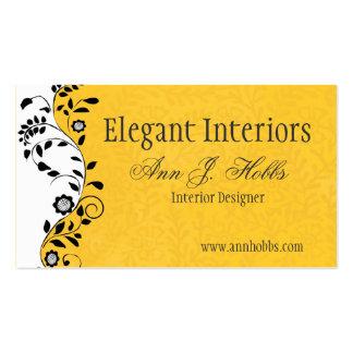 Interiorista floral del remolino del vintage tarjetas de visita