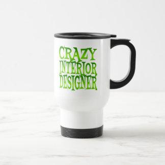 Interiorista loco en verde taza de viaje de acero inoxidable
