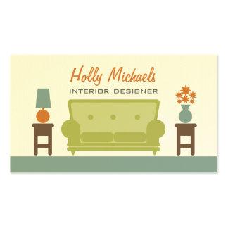 Interiorista - sofá verde de la sala de estar tarjetas de visita