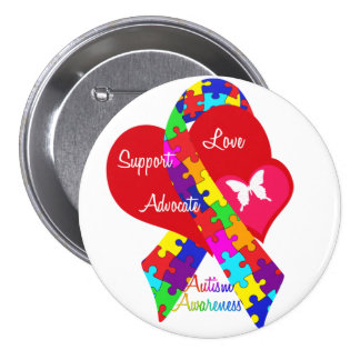 Interlaced Autism Ribbon Button