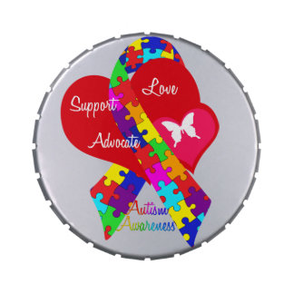 Interlaced Autism Ribbon Jelly Belly Tin