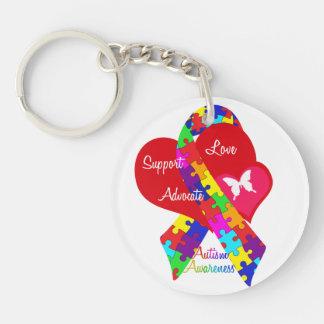 Interlaced Autism Ribbon Keychain