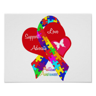 Interlaced Autism Ribbon Poster
