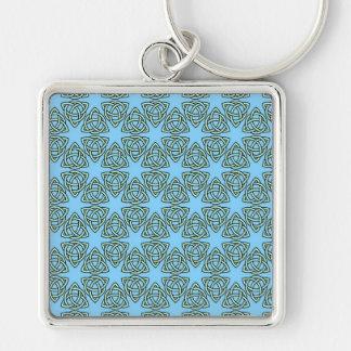 INTERLACED PATTERN in Blue ~ Keychain