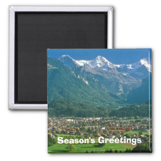 Interlaken and the Jungfrau 2 Inch Square Magnet