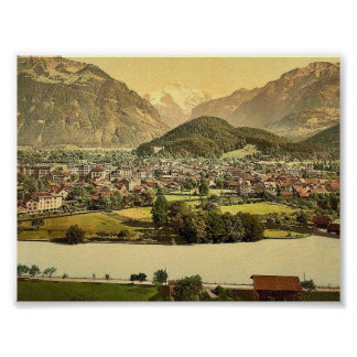 Interlaken and the Jungfrau, Aare River in foregro Print