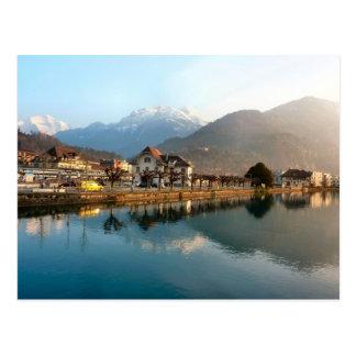 Interlaken Staion del oeste y río Tarjeta Postal