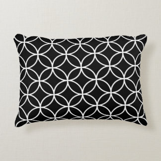 Interlinking Circles Big Pattern White on Black Accent Pillow