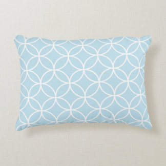 Interlinking Circles Big Pattern White on Lt Blue Accent Pillow
