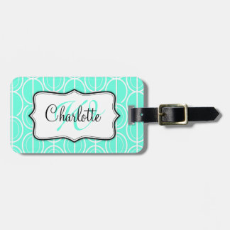 Interlinking oval pattern aqua name luggage tag