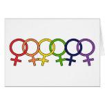 Interlocked Female Rainbow Greeting Cards