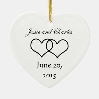 Interlocked Hearts - Black and White Ceramic Ornament